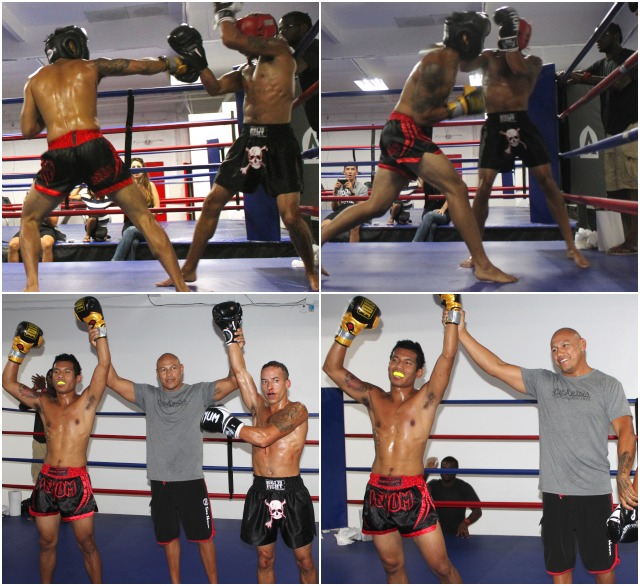 "At the close of Bout #6, both Ron Ramos (l), the winner and his opponent, Andre ""Dynamite"" Garcia had their arms raised by former pro boxer, now coach Ernesto Martinez."