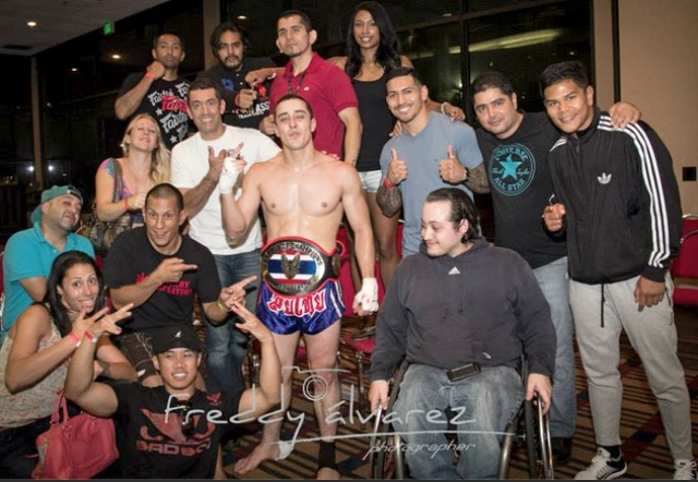 Bruno Borges is surrounded by well-wishers after winning his championship fight. Photo: Freddy Alvarez
