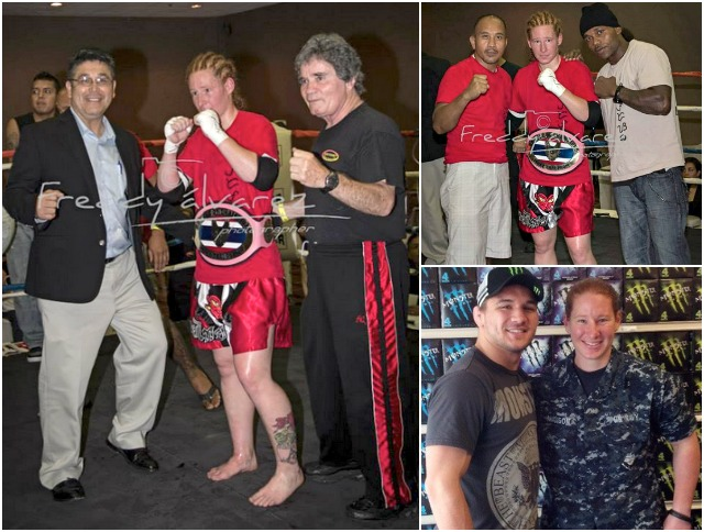 (photo, left) At the conclusion of her dominating performance against Christine Perry, Alyshia Madison is joined by Battle of the Champions promoters Victor Beltran (l) and Bob Chaney (r). (top, right) Madison is joined by her coaches. (below, right) We see U. S. Marine Gunnery Sergeant Alyshia Madison in uniform. Photo: Freddy Alvarez