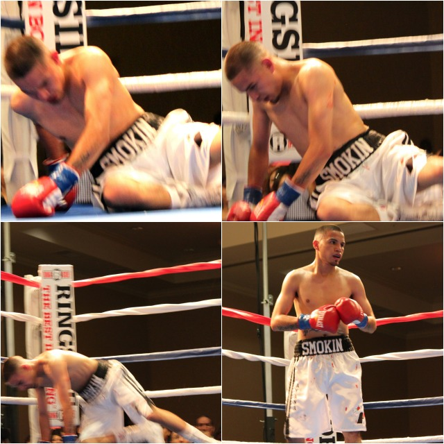 Nearing the close of round #4 came the dreaded, one punch, flash  knockdown. All photos: Jim Wyatt