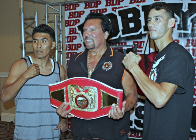 Promoter Bobby DePhilippis (c) poses for a photo between the two combatants Aaron Garcia and Daniel Ramirez who will be battling it out for the WBC California State Super Featherweight title. All photos: Jim Wyatt