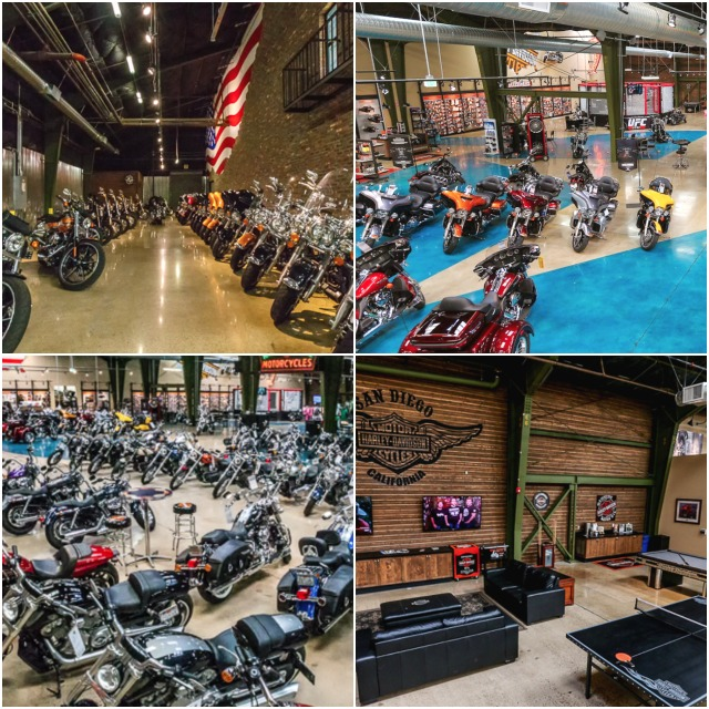 Photos of the immense 110,000 square foot San Diego Harley Davidson store on Morena Boulevard in San Diego. Is this place a business or just a huge toy store?