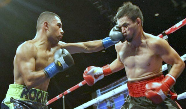In the opener of the Bobby D Presents Boxing Show at the Fantasy Springs Resort, it was Rocky Ramos (l) getting the best of his opponent
