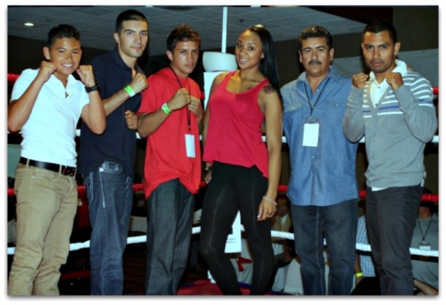 "During intermission  at a local Bobby D Presents Boxing show the attendees were introduced to several local up and coming boxing stars. (l to r) Rey Gamez, Pablo Armenta, Christian Torres, Kandice Williams, promoter Jorge Marron and Roque ""Rocky"" Ramos."