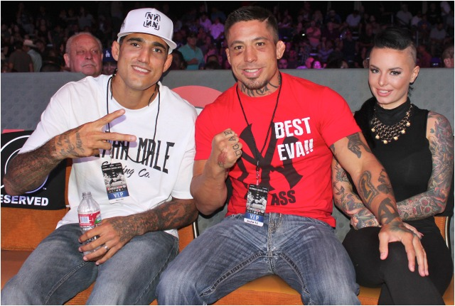 The last known photo of War Machine and Christy Mack together was taken at the Bellator MMA Show at the Pechanga Resort & Casino in Temecula, CA on July 25. It shows the couple smiling and disputes her claim that they were not even in contact anymore.  Photo: Jim Wyatt