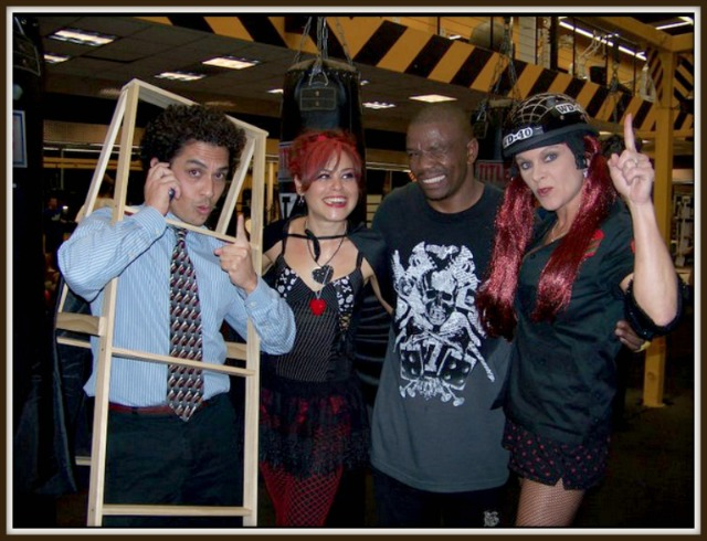"Halloween 2011: (l to r) Alan ""the Corporate Ladder"" Calero, Alicia ""Chewy"" Ciuffo, Lucky, Marie Fukumoto Fowle."