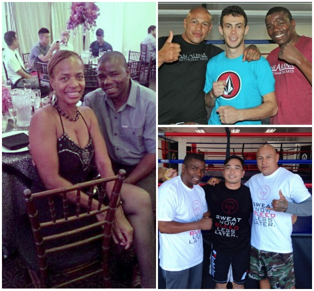 (photo left) Lucky leaves behind his lovely wife Annie Mae Craft, shown here with her adoring husband. (top, right) Lucky joins fellow coach Ernesto Martinez in a photo saluting the exploits of standout
