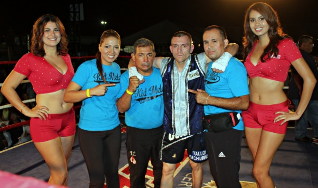 Ali Gonzalez is surrounded by his support staff.