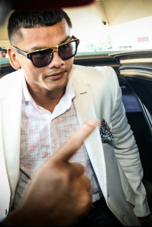 Marcos Rene Maidana, the most fashionable fighter on Saturday's fight card, arrives in his limo. Esther Lin/Showtime