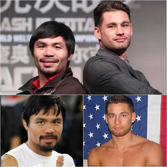 (top, l to r) Manny Pacquiao with the back to back pose with the relative novice in the sport,