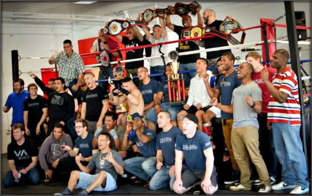 It seems the entire fight  team was on hand for this photo. Lucky Nhlengethwa is on the top row second from the right. Photo: Jim Wyatt