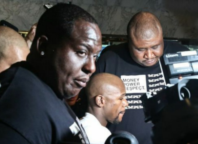 Floyd Mayweather Jr. must have the biggest bodyguards on the Planet. Photo: Stephanie Trapp/Mayweather Promotions