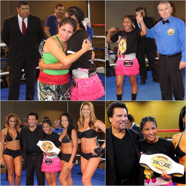 After having her arm raised in victory by referee Tony Crebs, Kenia Enriquez celebrates her victory with her manager Bobby DePhilippis. Photos: Jim Wyatt