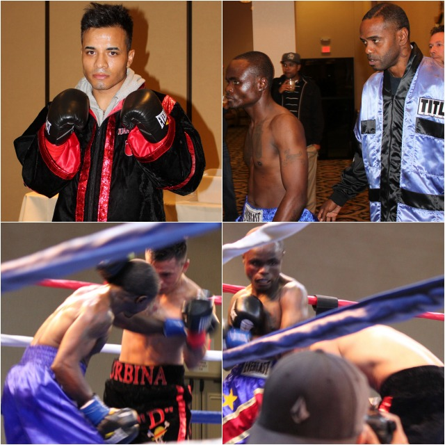 "(top) Super bantamweight Mulapi ""The African Mexican"" Enjani (1-0) from the Congo dropped Juan Urbina (0-3-1) of Los Angeles"