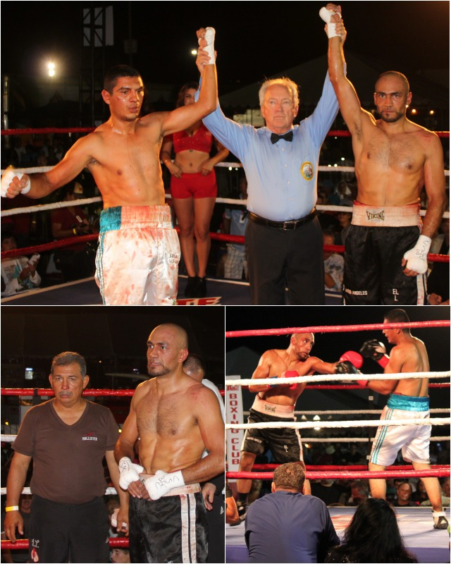 In Bout #1, Yair Aguiar (l) of Culiacan, Sinaloa, Mexico and Mario Angeles of Chula Vista, CA fought to a draw. Photos: Jim Wyatt