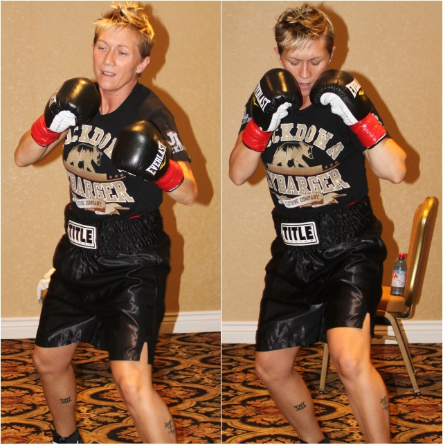 Prior to her bout versus Haley Pasion, Jillian Lybarger warms up by shadow-boxing. Photos: Jim Wyatt
