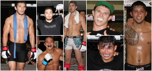 The Magnificent Seven - the most impressive fighters from the latest Epic Fighting Show (l to r) Joseph Williams, Alex Trinidad, Jacob Sandoval, Harlem Dillon, Bruce Smith, Diego Rivera, and Robert Marsters.