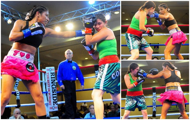 From the outset, Kenia Enriquez had this bout in cruise control by using her stiff jab to keep the persistent at a distance. Photos: Paul Gallegos
