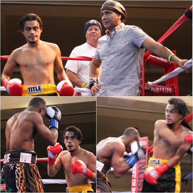 "This one-sided affair saw Isaac ""Royal Storm"" Dogboe  from London, England by way of Accra, Ghana land power shot after power shot on the defenseless 38 year-old Ronald Rodriguez of Pomona, CA. Photos: Jim Wyatt"