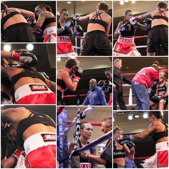 Edmonton, Alberta, Canada's Bandry Badry (red trunks) found herself in a cat fight with Goodyear, Arizona's Jillian Lybarger, the eventual winner. Photo: Jim Wyatt