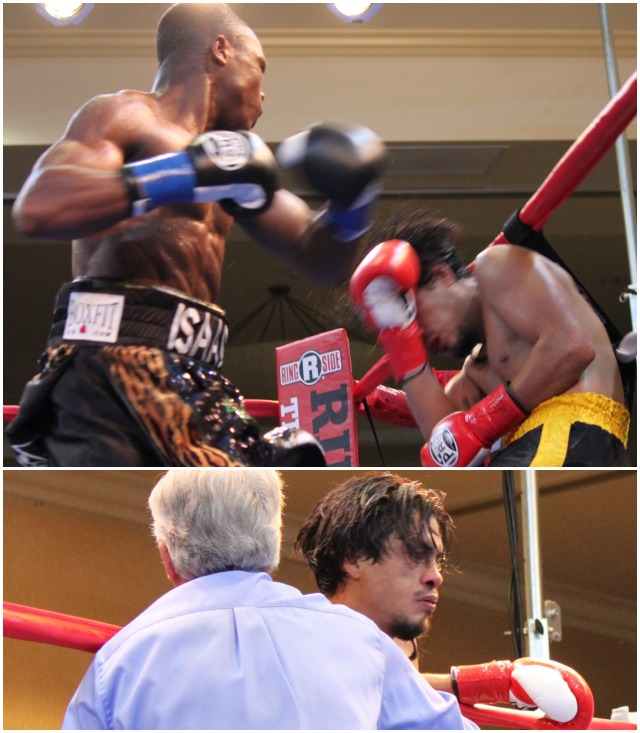 (bottom) Referee Pat Russell is shown calling a halt to the match between Ronald Rodriguez and Isaac Dogboe (top) who is shown unloading a punch on the defenseless Ronald Rodriguez. Photos: Jim Wyatt