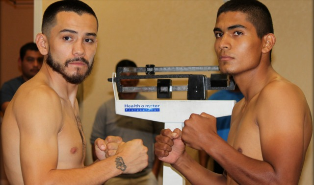 "San Diego's Emmanuel ""Renegade"" Robles (l) weighed in at 139.75 lbs. while his opponent Carlos ""Guerrero"" Valenzuela (r) of Phoenix, Arizona by way of Ciudad Obregon, Mexico, weighed 140 lbs. Photo: Jim Wyatt"