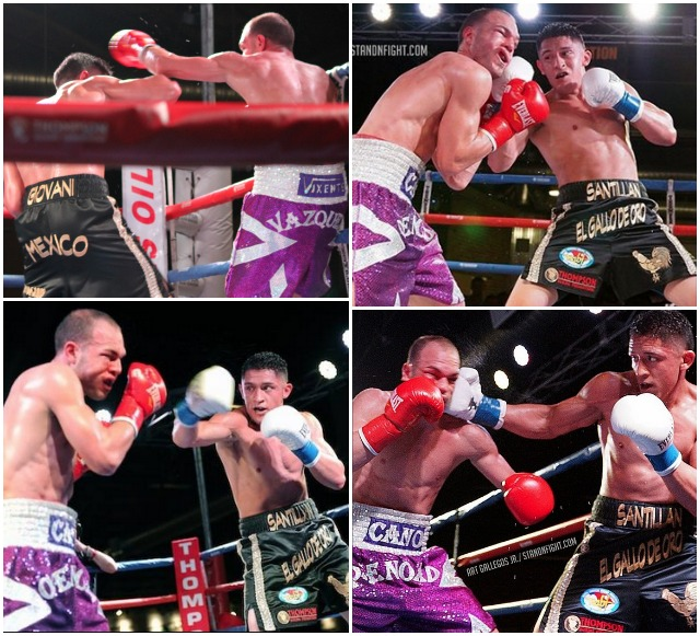 Block a punch, slip a punch, then land one all over, this was the way Giovani Santillan destroyed his last oppnent.
