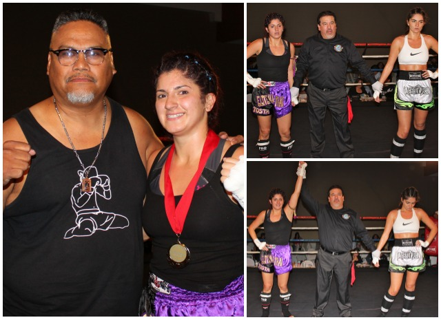 "ut #13, consisting of 3-two minute rounds, had 23 year-old Alex Speaks (5'6"" tall, 130 lbs.) of Victory MMA, Point Loma in her debut against 27 year-old, 5'6"" tall, 130 lbs. Irene Tosta (0-3) of Elite Muay Thai, San Luis Obispo, CA."