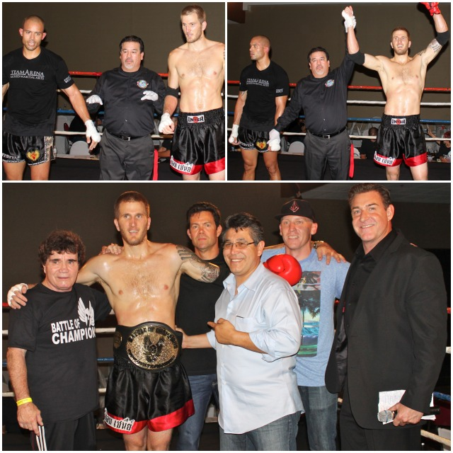 (top, right) Michael Wenger of the Bob Chaney Mixed Martial Arts Center has his arm raised in victory after defeating James Ewton of The Arena MMA.