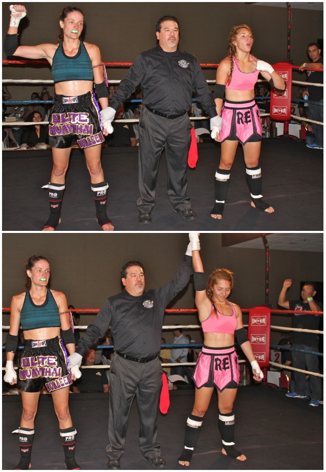 "In Bout #2, it was Carla Saldana of The Reyes Gym, Tijuana, B. C., Mexico defeated the 5'8"" Colleen Saylor of Elite Muay Thai Academy of San Luis Obispo, CA."