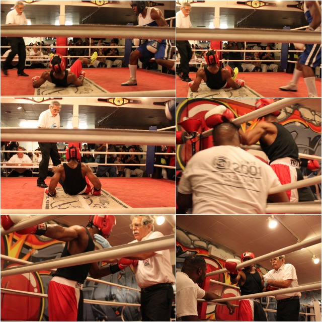 This collage of photos (top to bottom) shows the sequence following the John Yancey knockdown by Robert Lartigue in Bout #6.
