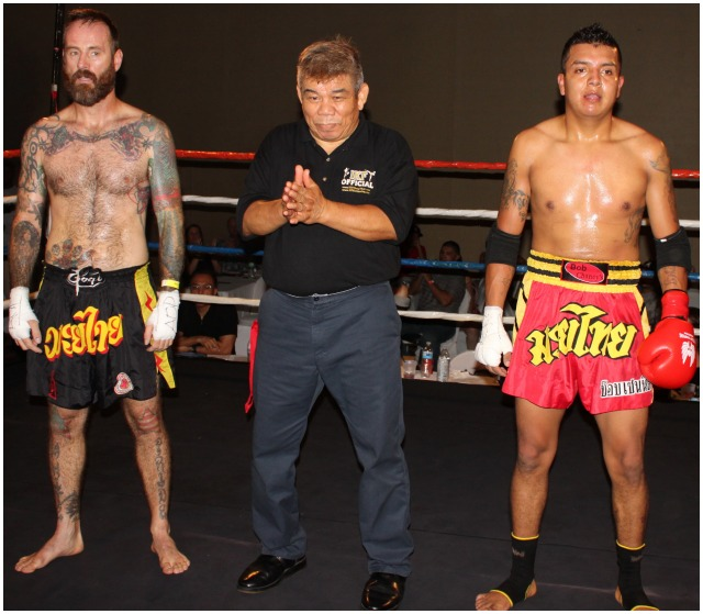 "Bout #12, consisting of 3-two minute rounds, had 26 year-old Edgar Lopez (4-1, 155 lbs., 5'9"" tall) of Bob Chaney Martial Arts, Murrieta, CA going up against 40 year-old Keith Beard (1-3, 155 lbs., 5'10"" tall) of San Marcos, CA."