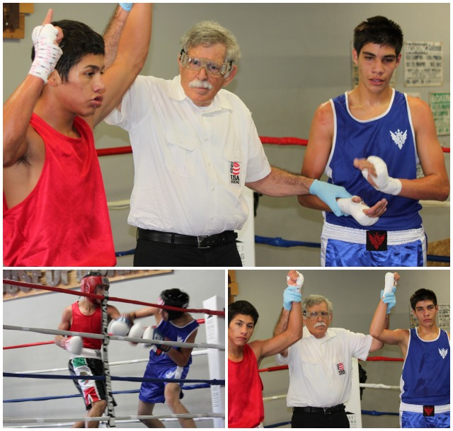 (top) At the conclusion of Bout #2, the winner Ulises Bastida (l) has his arm raised in victory by referee Will White.