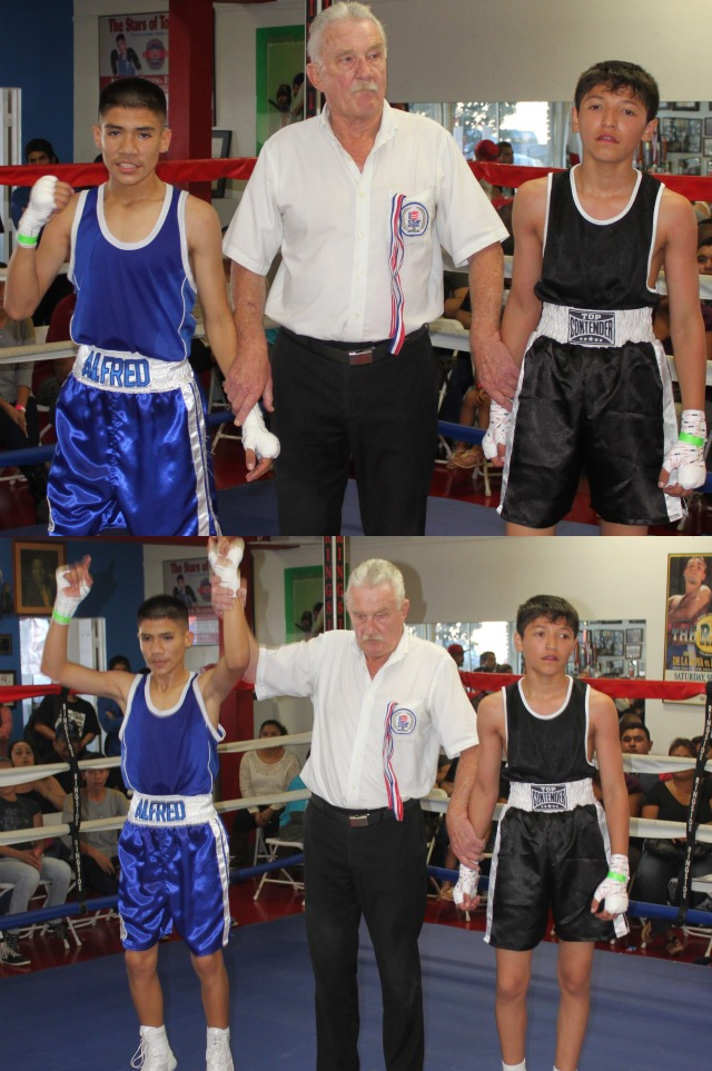 (bottom) At the conclusion of Bout #4, referee Rick Ley raises the arm of the winner Alfred Vargas