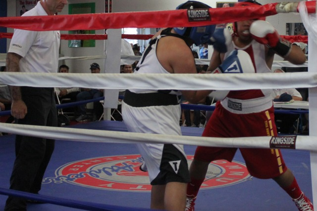 There may have been was far less defense in Bout #10, the combatants in Bout #11 were throwing some dynamite punches. Here we see Emmanuel Lagunes blasting Jesus Castro.