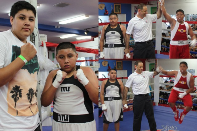 (photo, left) Big bro joins his little brother Jesus Castro after the slugfest. (bottom, right) Emmanuel Lagunes (r) was so excited about the win, he almost jumped right out of his shoes.