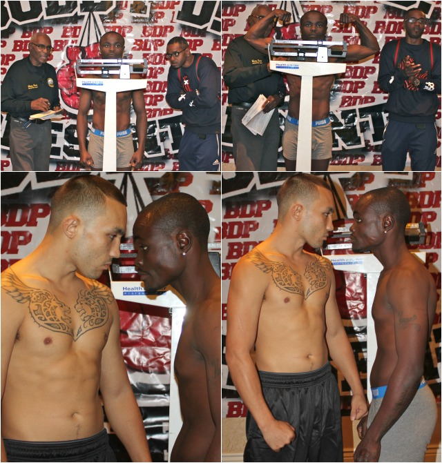 (bottom photos) After both boxers, Don Jose (l) and Mulapi Enjani