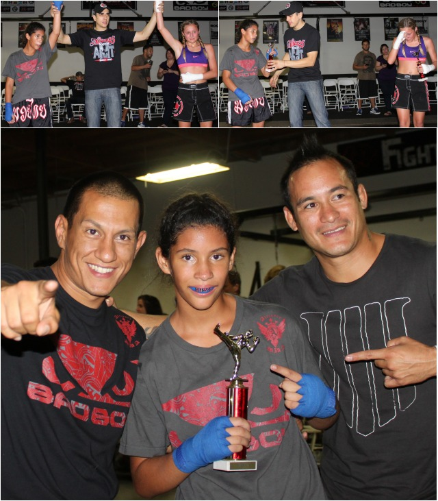 (bottom) After the final stoppage and receiving her trophy, Nahdia is joined by her support group of coach Juan Luis Miranda (l) and Tachi Keoki (r). All photos: Jim Wyatt