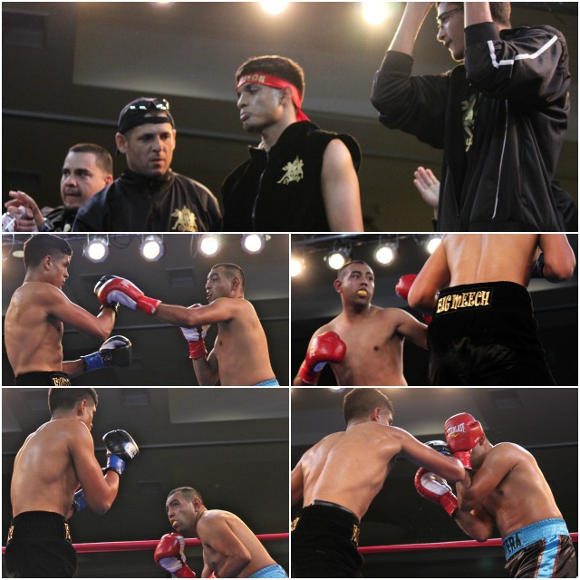 (top photo) Alberto Fundora (c) and his support group enter the ring for his bout against Fernando Najera. All photos; Jim Wyatt