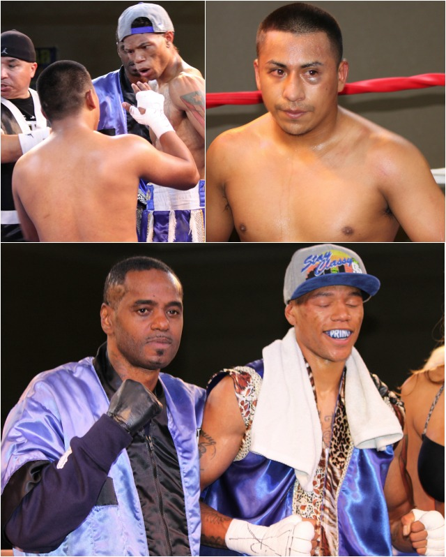 "(top, left) At the conclusion of the bout, the much shorter Jose Iniguez walks over to congratulate his opponent Prince ""Tiger"" Smalls. All photos: Jim Wyatt"