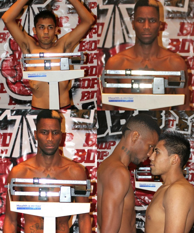 "At the conclusion of their weigh-ins for Bout #3, Leon ""3rd Generation"" Spinks (l) works the intimidation factor on the shorter Ivan ""Oso"" Zavala of Tijuana."