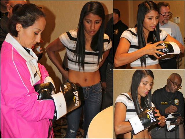 After inspecting the gloves to be used, the ladies make their choice.