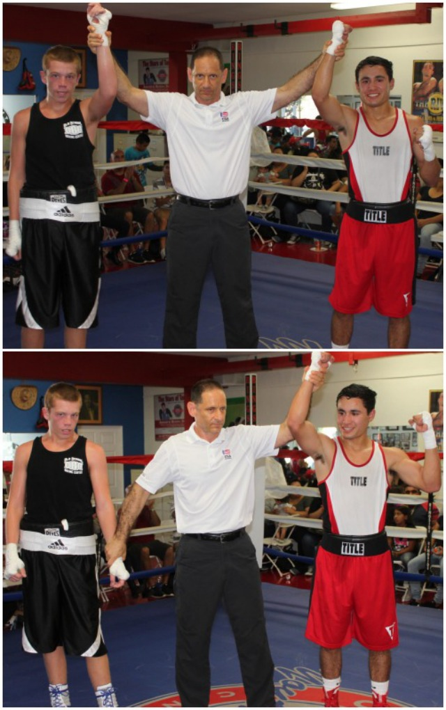 In the end, it was Meza (r) having his arm raised in victory by referee Dana Kaplan.