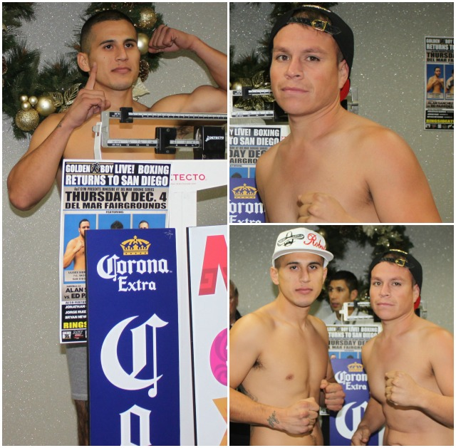 Wednesday, on the scales, Adrian Vargas (l) weighed in at 148.5 pounds while his opponent Mario Hermosillo (r) weighed 146.5 pounds.
