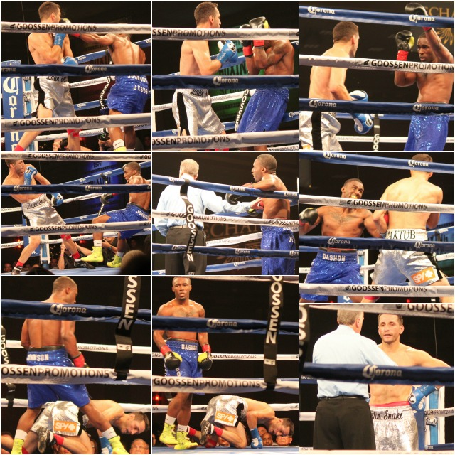 "Boxer/mixed martial artist Dashon ""Fly Boy"" Johnson of nearby Escondido, CA gave it his best in Bout #10 against the former world champion Sergio ""the Latin Snake"" Mora of Los Angeles, CA.  Photos:  J. Wyatt"