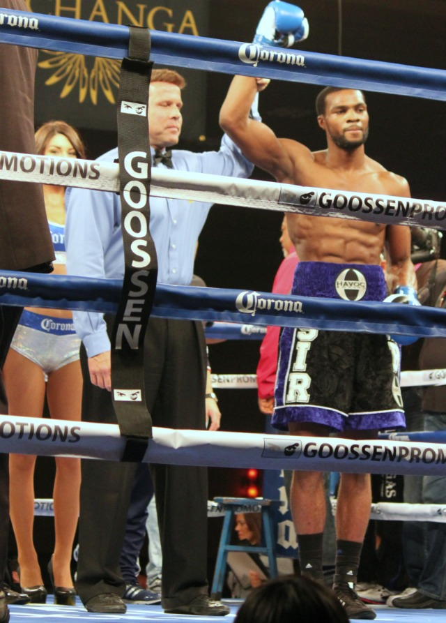 At the early stoppage of George Blades in Bout #2, Sir Marcus Browne had his arm raised in victory by referee Tom Taylor. Photo: Jim Wyatt