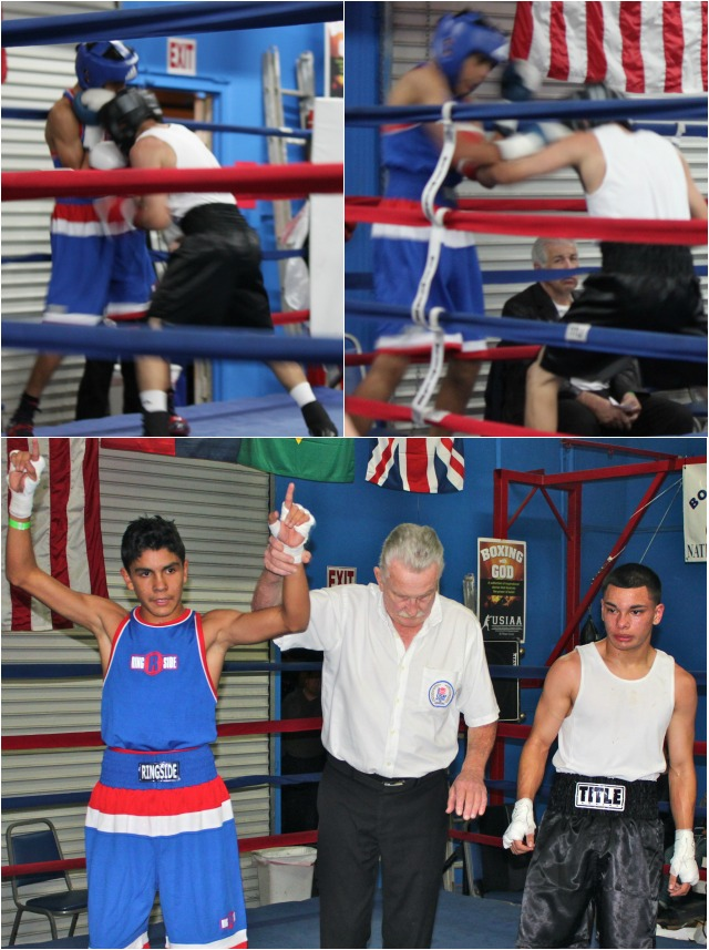 Rey Diaz (l) has his arm raised in victory after defeating Daniel Andijuo.