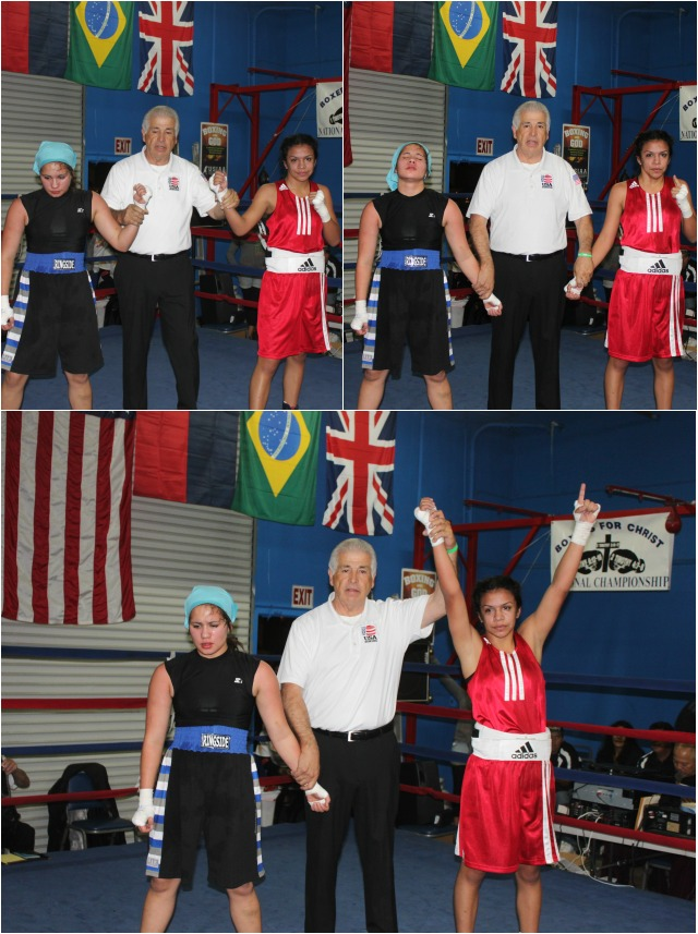 Jessica Juarez (r) has her arm raised in victory after defeating Desire Maldonado.