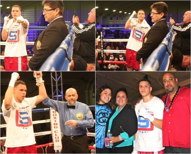 (bottom, right) After gaining his eighth victory, Ulises Sierra is joined by his sister (left) and parents.