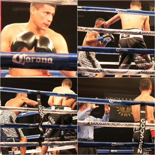 (top, right photo) Show Luis Grajeda (r) landing one of the few punches he landed all night against the equally, lethargic Austin Trout (l). All photos: J. Wyatt